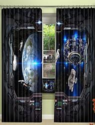 cheap -Future Technology and Astronaut Digital Printing 3D Curtain Shading Curtain High Precision Black Silk Fabric High Quality Curtain