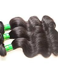 "cheap -3 Bundles Indian Hair Body Wave Virgin Human Hair Unprocessed Human Hair Natural Color Hair Weaves / Hair Bulk 10""~28"" Natural Human Hair Weaves Natural Best Quality For Black Women Human Hair"