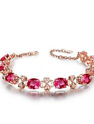 cheap -Luxury Rose Gold Red Ruby Bracelet For Women Red Tourmaline Gemstone Bracelet 925 Zircon Diamond Hand Chain