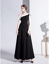cheap -A-Line One Shoulder Floor Length Satin Color Block / Vintage Inspired Formal Evening Dress 2020 with Bow(s)