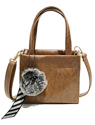 cheap -Women's Pom-pom PU Top Handle Bag Solid Color Black / Brown / Dark Brown
