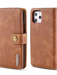 cheap -Phone Case For Apple Full Body Case Leather Wallet Card iPhone 12 Pro Max 11 SE 2020 X XR XS Max 8 7 6 Wallet Card Holder with Stand Solid Color Genuine Leather