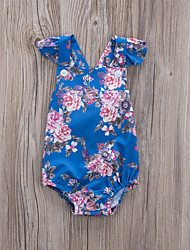 cheap -Baby Girls' Active Basic Floral Print Print Sleeveless Bodysuit Blue