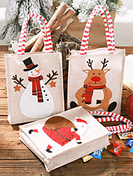 cheap -Christmas Burlap Embroidery Gift Bag Santa Claus Snowman For New Year Gift For Children