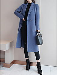 cheap -Women's Daily Fall & Winter Long Coat, Solid Colored Shirt Collar Long Sleeve Polyester / Nylon Black / Blue / Red