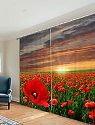 abordables -fleur rouge mer impression numérique 3d rideau rideau ombrage haute précision noir tissu de soie rideau de haute qualité