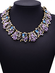 cheap -Women's Cubic Zirconia Necklace Flower Chunky Color Cubic Zirconia Purple Yellow Red Blue Pink Necklace Jewelry For Party Wedding Special Occasion Anniversary Birthday Party / Evening