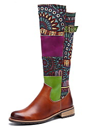 cheap -Women's Boots Knee High Boots Low Heel Round Toe Leather Knee High Boots Fall & Winter Green