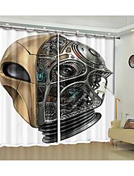 cheap -All Saints Fabric Decorative Metal Mask Digital Printing 3d Curtain Festival Halloween Shading Curtain High Precision Black Silk Fabric High Quality Level Shading Bedroom Living Room Curtain