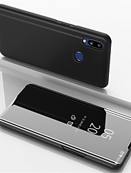 cheap -Phone Case For Samsung Galaxy Full Body Case Leather A30 A50 A40 A90 A70 Galaxy A2 Core Galaxy A20e A10 A20 Samsung Galaxy A60 Mirror Flip Solid Color PU Leather PC