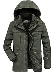 cheap -Men's Daily Fall & Winter Regular Jacket, Solid Colored Hooded Long Sleeve Polyester Blue / Army Green / Khaki