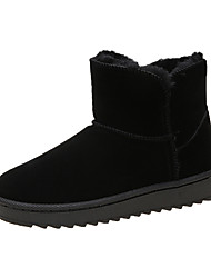cheap -Women's Boots Snow Boots Flat Heel Round Toe Stitching Lace PU Booties / Ankle Boots Casual Walking Shoes Fall & Winter Black / Dark Grey / Dark Brown