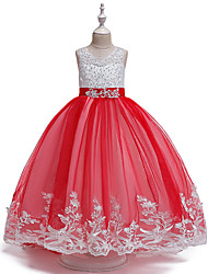 cheap -Ball Gown Knee Length Christmas / Birthday / Pageant Flower Girl Dresses - Cotton Blend / Tulle Sleeveless Jewel Neck with Bow(s) / Pleats / Appliques