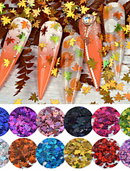 cheap -12 colors Leaf Mixed Set Glitter Nail Flakes Holographic Paillette Nail Sequins Autumn Maple Leaf Shape For Nail Art Decorations