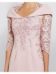 abordables -Fourreau / Colonne Reine Anne Mi-long Polyester Demi Manches Grande Taille / Transparent / Elégant Robe de Mère de Mariée  avec Paillette 2020