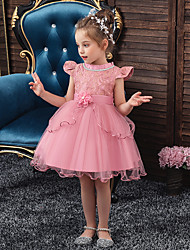 cheap -Kids Girls' Sweet Solid Colored Christmas Beaded Embroidered Mesh Short Sleeve Knee-length Dress Blushing Pink