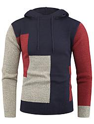 cheap -Men's Color Block Long Sleeve EU / US Size Pullover Sweater Jumper, Hooded Navy Blue / Khaki US34 / UK34 / EU42 / US36 / UK36 / EU44 / US38 / UK38 / EU46