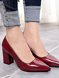 cheap -Women's Heels Chunky Heel Pointed Toe Rubber / PU Summer Black / White / Burgundy