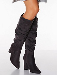 cheap -Women's Boots Chunky Heel Pointed Toe Suede Mid-Calf Boots Fall & Winter Black / Gray