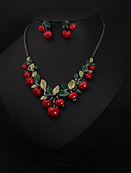 cheap -Women's Bridal Jewelry Sets Fancy Leaf Cherry Statement Cute Rhinestone Earrings Jewelry Dark Red For Wedding Party 1 set