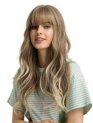 cheap -Synthetic Wig Bangs Curly Body Wave Side Part Neat Bang With Bangs Wig Ombre Very Long Light Brown Synthetic Hair 24 inch Women's Cosplay Women Synthetic Light Brown Ombre HAIR CUBE / Ombre Hair