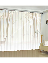 cheap -Simple and Obscure Forest Deer Creative Digital Printing 3D Curtain Shade Curtain High Precision Black Silk Fabric High Quality First Class Living Room Curtain