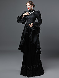 cheap -Rococo Victorian 18th Century Dress Women's Lace Costume Black Vintage Cosplay Party Prom Long Sleeve Ball Gown Plus Size Customized