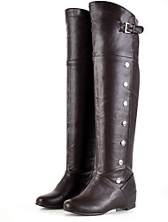 cheap -Women's Boots Knee High Boots Flat Heel Round Toe PU Knee High Boots Winter Black / Brown / White