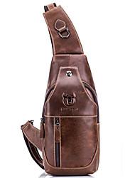 cheap -Men's Zipper Cowhide Sling Shoulder Bag Solid Color Black / Brown / Yellow