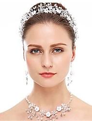 cheap -Women's Head Jewelry Hoop Earrings Necklace Geometrical Flower European Earrings Jewelry White For Wedding 1 set