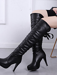 cheap -Women's Boots Knee High Boots Stiletto Heel Round Toe Faux Leather Knee High Boots Spring &  Fall / Fall & Winter Black / White / Party & Evening
