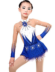 cheap -Rhythmic Gymnastics Leotards Artistic Gymnastics Leotards Women's Girls' Leotard Sky Blue Spandex High Elasticity Handmade Print Jeweled Long Sleeve Competition Ballet Dance Ice Skating Rhythmic