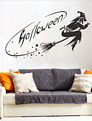 cheap -Halloween Witch PVC Wall Stickers - Plane Wall Stickers Transportation / Landscape Study Room / Office / Dining Room / Kitchen