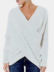 cheap -Women's Solid Colored Pullover Cotton Long Sleeve Loose Sweater Cardigans V Neck Black Green Beige