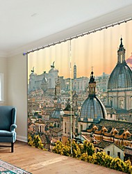 cheap -European Dome Building Digital Printing 3D Curtain Shading Curtain High Precision Black Silk Fabric High Quality Curtain