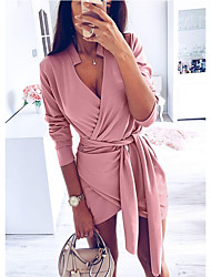 cheap -Women's Daily Wear Basic Mini Slim Bodycon Dress - Solid Colored Drawstring Deep V Blushing Pink Brown S M L XL