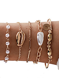 cheap -5pcs Women's Bracelet Bangles Vintage Bracelet Earrings / Bracelet Layered Shell Vintage Trendy Ethnic Fashion Boho Imitation Pearl Bracelet Jewelry Gold For Daily Street Holiday Club Festival