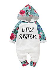 cheap -Baby Girls' Active / Basic Floral / Print Print Long Sleeve Bodysuit White