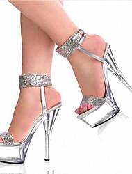 cheap -Women's Sandals Stiletto Heel Peep Toe PU British Summer / Fall Burgundy / Silver