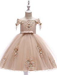 cheap -A-Line Knee Length Wedding / Birthday / Pageant Flower Girl Dresses - Tulle Short Sleeve Off Shoulder with Petal / Sash / Ribbon / Trim