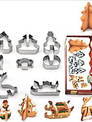cheap -3D Christmas Cookie Cutters Set - 8 Piece Stainless Steel Cookie Cutters Including Christmas tree, Snowman, Deer & Sled Shapes