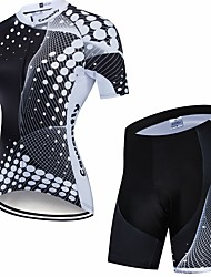 cheap -CAWANFLY Women's Short Sleeve Cycling Jersey with Shorts Winter Spandex Black / White Bike Quick Dry Sports Geometic Mountain Bike MTB Road Bike Cycling Clothing Apparel / Advanced / Stretchy