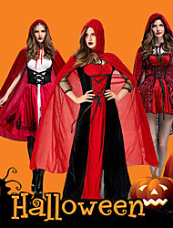 cheap -Little Red Riding Hood Dress Cosplay Costume Masquerade Costume Adults' Women's Party / Evening Halloween Christmas Halloween Carnival Festival / Holiday Satin / Tulle Corduroy Red black / Burgundy