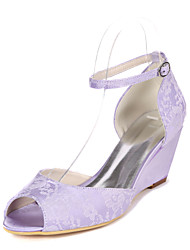 cheap -Women's Wedding Shoes Wedge Heel Peep Toe Lace Minimalism Fall / Spring & Summer White / Ivory / Light Purple / Party & Evening