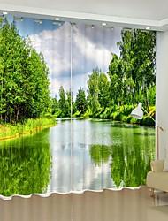 cheap -Lake Digital Printing 3D Curtain Shading Curtain High Precision Black Silk High Quality Curtain
