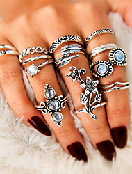 cheap -Women's Ring Ring Set 13pcs Silver Alloy irregular Simple Classic Vintage Gift Street Jewelry Vintage Style Flower Feather