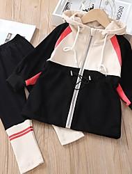 cheap -Kids Girls' Active Color Block Long Sleeve Clothing Set Black