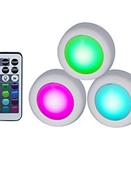 Недорогие -3 шт. Из светодиодов под кабинет свет rgb 13 цветов затемнения ночной шайбы лампы лестница прихожая кухонный шкаф гардероб беспроводной