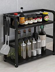 Недорогие -органайзер для хранения столешницы на кухне, 2-х уровневая полка для хранения над микроволновой печью, экономия места, прочная черная нержавеющая сталь
