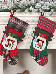 cheap -Transparent Photo Frames Plaid Christmas Socks Gift Bag For Children  Home Bags Candy Stockings